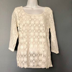 Lucky Brand Women's Sheer 3/4 Sleeve Cream Top